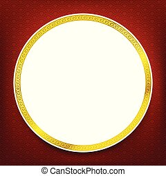 Chinese traditional art blank frame red circle boarder and white background with copy space