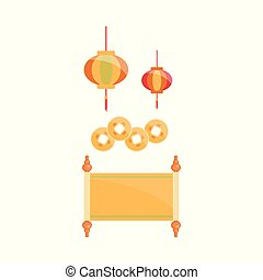 Chinese traditional decoration set - cartoon lantern, gold coins, parchment roll
