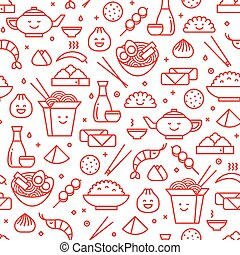 Chinese traditional food line seamless pattern
