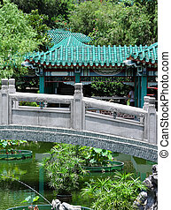 Chinese traditional garden with bridge