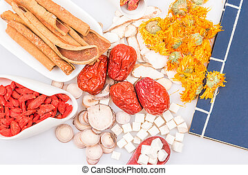 Chinese traditional herbs or medicine close up