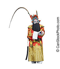 chinese traditional opera actor with white isolated...