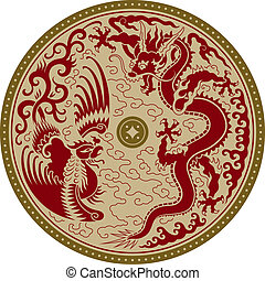 Traditional Chinese circular ornament with a rooster and the dragon. Vector illustration.