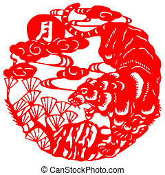 Chinese zodiac of tiger - Chinese traditional paper-cut of...