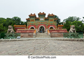 Chinese traditional style building in an ancient garden, north china