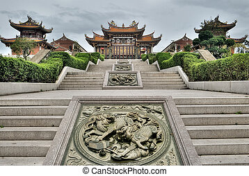 Chinese traditional temple, Buddhism, Taoism building in...