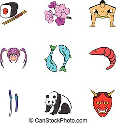 Chinese travel icons set, cartoon style