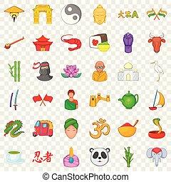Chinese travel icons set, cartoon style