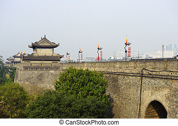 chinese unique city gate tower in Xi'an,China