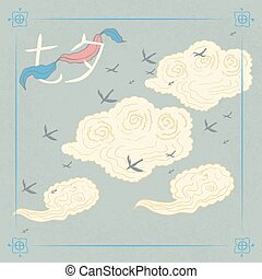 Chinese Valentines Day. Double Seven Festival. 17 August. Chinese holiday. Tale, legend. Chinese style hand drawn. Clouds, magpies, ribbon. Translation from Chinese - Qixi Festival