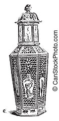 Chinese Vase reticle, vintage engraving.