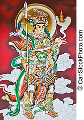 Chinese Warrior Deity Mural