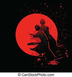 Chinese warriors - Mighty kung-fu Shaolin warriors fighting...