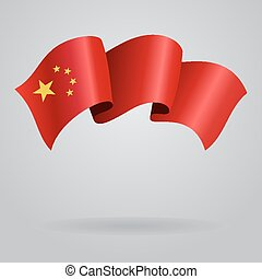 Chinese waving Flag. Vector illustration