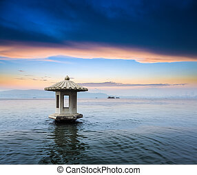 beautiful hangzhou scenery of the west lake in sunset ,the natural beauty of lakes and mountains