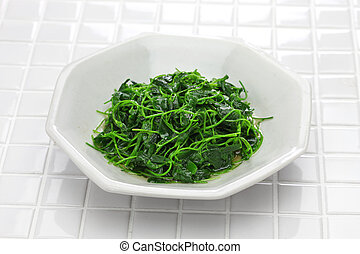 chinese white wine stir fried with toothed bur clover, shanghai cuisine
