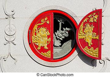 Chinese window at Leng Noei Yi 2 temple