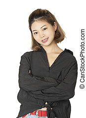 Chinese woman dressed in casual clothing isolated on white background
