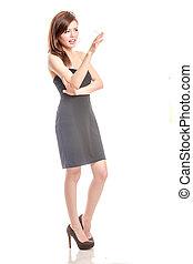 Chinese woman in black dress smoking