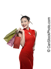 Chinese woman in cheongsam dress