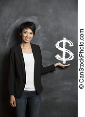 Chinese woman in front of dollar sign written on chalkboard.