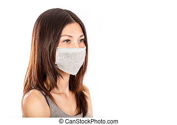 Chinese woman wearing surgical mask