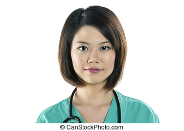Chinese women doctor wearing a green scrubs