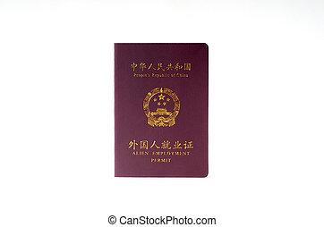 Chinese work permit passport