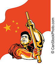 Chinese worker - Propaganda poster with worker holding China...