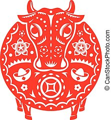 Chinese Year of OX Bull vector illustration in paper cut ...