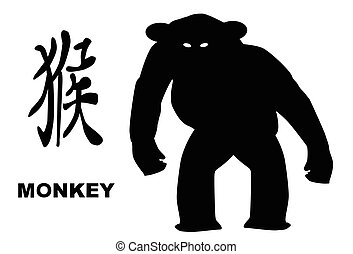 The Chinese logogram and rat silhouette depicting the Chinese year of the Monkey