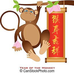 Chinese Year of the Monkey with Peach and Banner Illustration