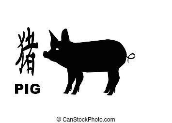 The Chinese logogram and rat silhouette depicting the Chinese year of the pog