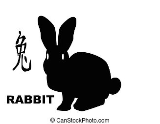 The Chinese logogram and rat silhouette depicting the Chinese year of the rabit