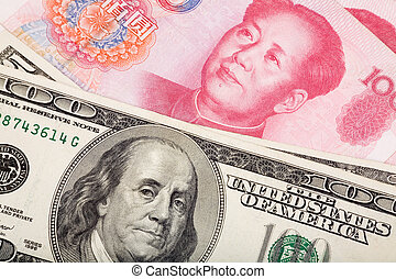 Chinese yuan and us dollars, concept of exchange war