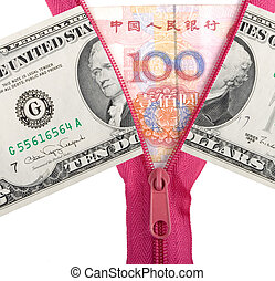 Chinese yuan and us dollars - opened zipper with chinese ...