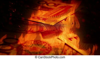 Chinese Yuan Banknotes Rotating In Fire - Chinese yuan...