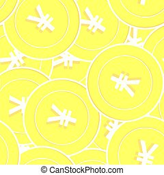Chinese yuan gold coins seamless pattern. Flawless scattered...