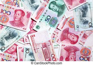 Chinese yuan - Heap of chinese yuan banknotes