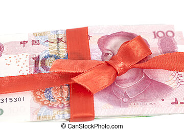 Chinese Yuan Money Gift isolated on white