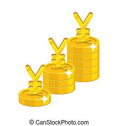 Chinese yuan or Japanese yen growing stack