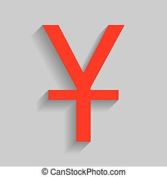 Chinese Yuan sign. Vector. Red icon with soft shadow on gray background.