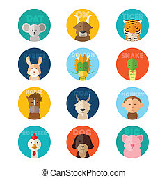 Chinese zodiac animal - A vector illustration of Chinese...