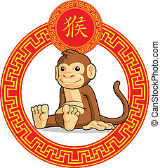 Chinese Zodiac Animal - Monkey - A vector image of a chinese...