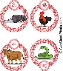Chinese Zodiac Animal - Ox, Rat, Ro