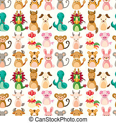 Chinese Zodiac animal seamless pattern