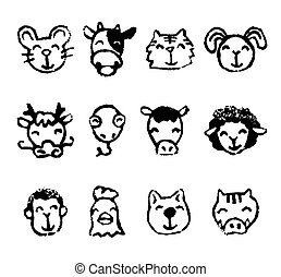 Chinese zodiac animal sign icons