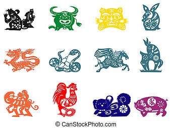 Chinese zodiac - Chinese traditional paper-cut of colourful...