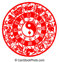 Chinese zodiac - Chinese traditional paper-cut of red...