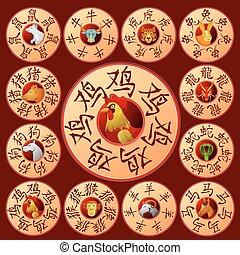 Chinese zodiac emblems with cartoon animals
